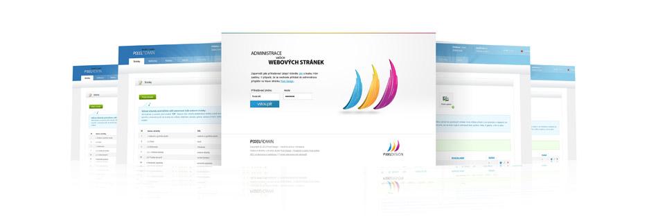 Náhledy systému PixelAdmin - webové studio Pixel Design